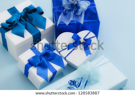 Gift, blue, ribbon