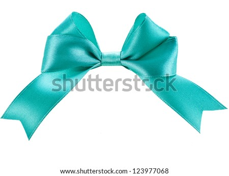 gift blue ribbon bow isolated on white - stock photo