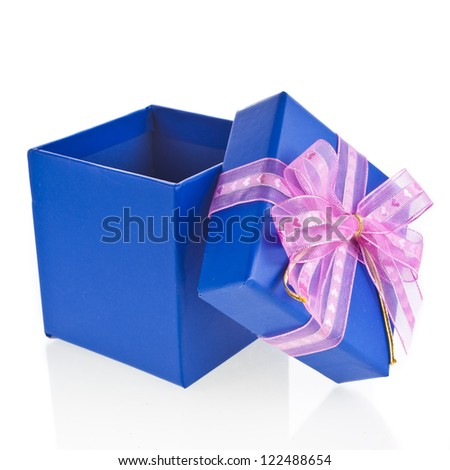 gift blue wrapped present box with bow isolated on white - stock photo