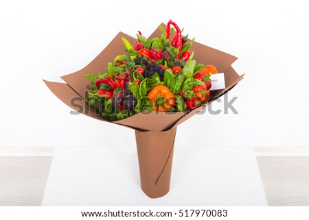 Gift bouquet. The concept of an edible bouquet of vegetables