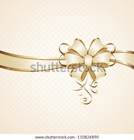 Gift bow on beige background, illustration. - stock photo