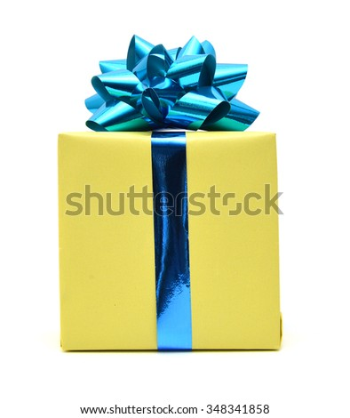 Gift box and blue bow on white background  - stock photo