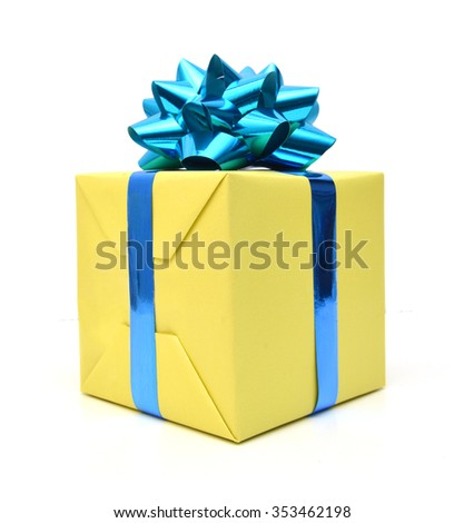 Gift box and blue bow on white background