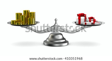 Gift box and cash on scale. Isolated 3D image - stock photo