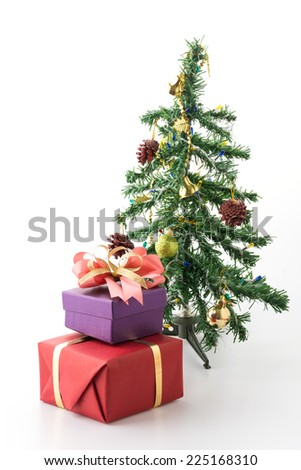 gift box and christmas tree isolated on white background