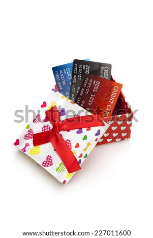 Gift Box and Credit Card on the white background