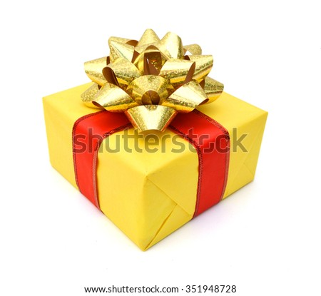 Gift box and red bow on white background  - stock photo