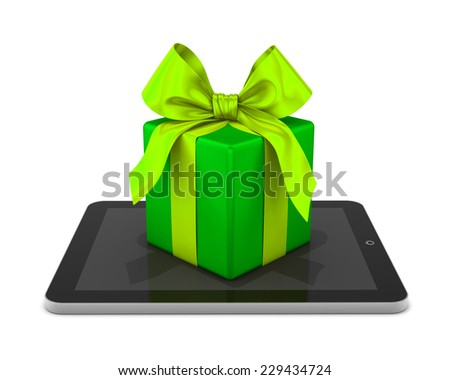 gift box and tablet 3d - stock photo