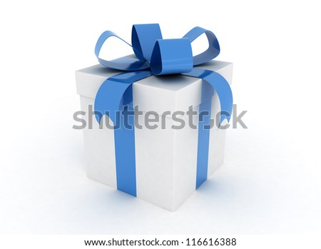Gift box blue ribbon - stock photo