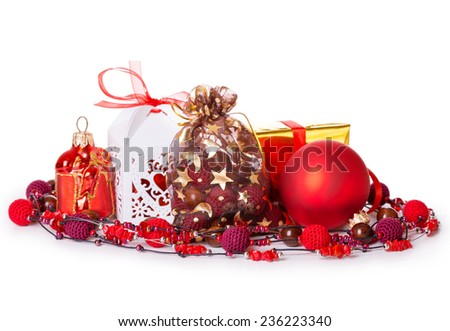 gift box bow christmas balls Isolated on white background