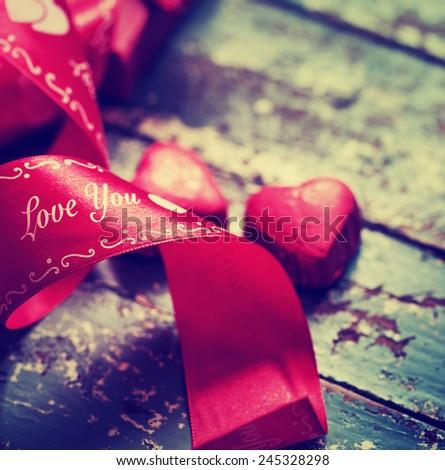 Gift box,chocolates for Valentine's day  - stock photo