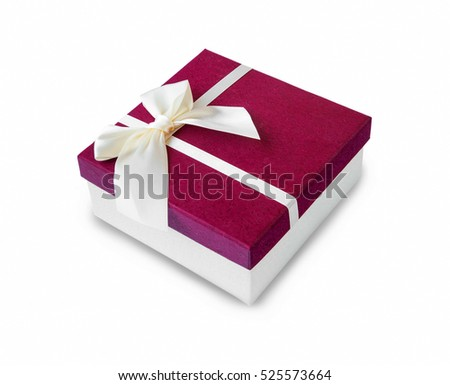 Gift box decorated with bow and ribbon isolated on white