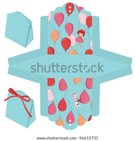Gift box die cut. Balloons, bunny and girl pattern.
