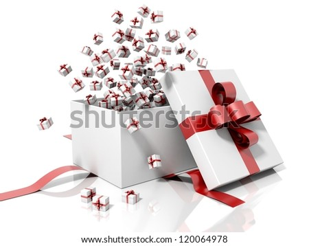 Gift box emitting little gift boxes with a red ribbon on a white reflective and isolated background - stock photo