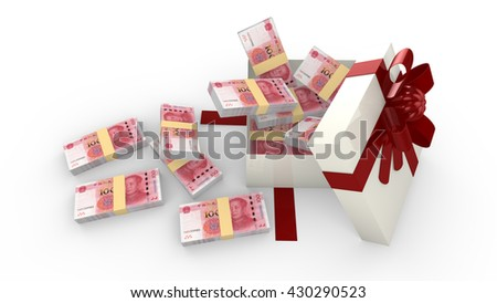 Gift box filled with new Chinese RMB isolated on white 3D illustration