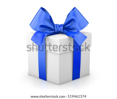 gift box for Christmas, New Year's Day , blue gift box white background 3d rendering