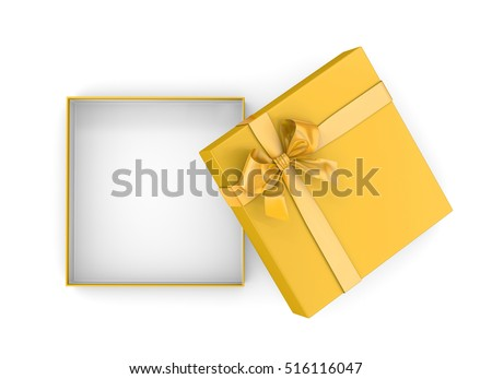 gift box for Christmas, New Year's Day ,Open yellow gold  gift box top view white background 3d rendering