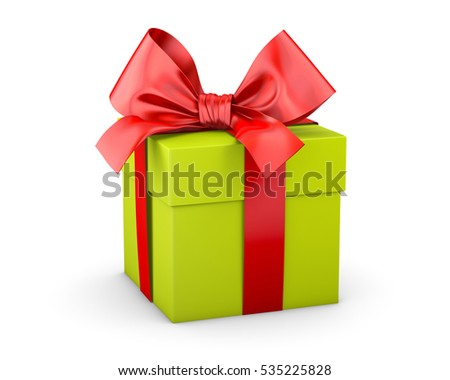 gift box green red ribbon for Christmas, New Year's Day white background 3d rendering