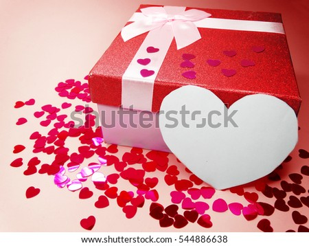 gift box greeting card love valentine's day with hearts