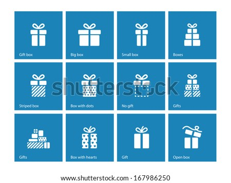 Gift box icons on blue background. See also vector version. - stock photo