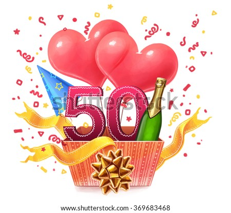 Gift box. Illustration. 50 years old - stock photo