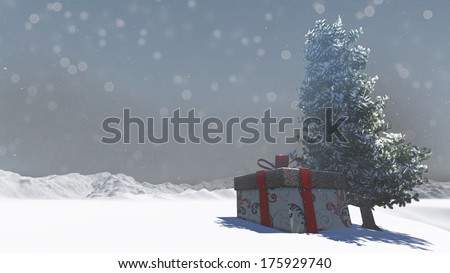 Gift box in snowy under the tree in Christmas day