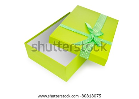 Gift box isolated on the white - stock photo