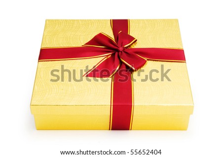 Gift box isolated on the white background - stock photo