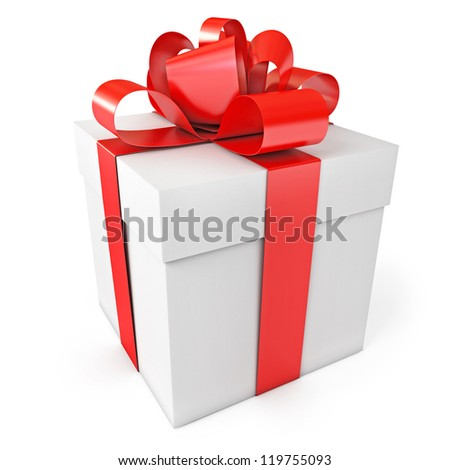 Gift box. Isolated on white background. 3d render