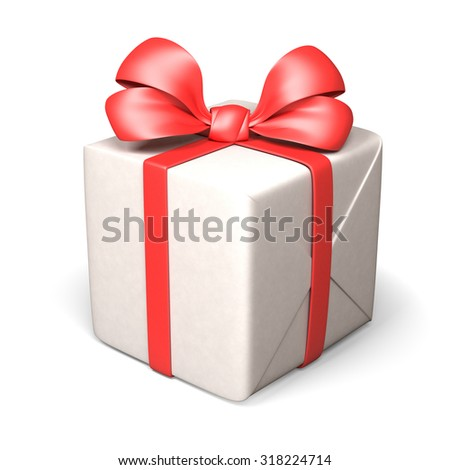 Gift Box Isolated On White. 3d rendering