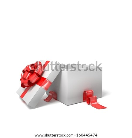Gift box isolated on white. 3d visualization. - stock photo