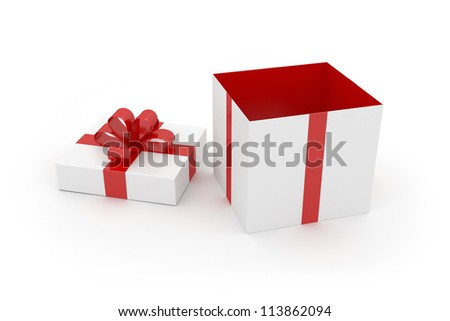 Gift Box - Isolated on White Surface - stock photo