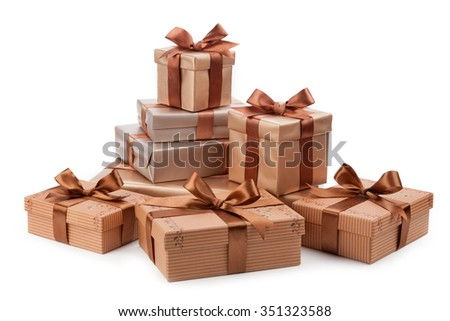 Gift box isolated on wnite background. Holiday concept. - stock photo