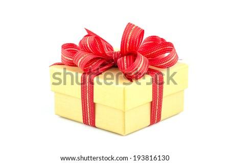 Gift box isolated white background - stock photo
