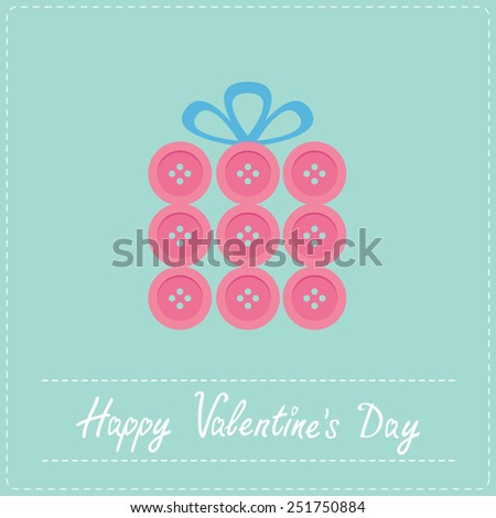 Gift box made from white buttons.  Appligue Dash line Happy Valentines day card Flat design  - stock photo