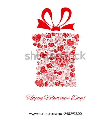 Gift box made of many hearts for Valentines Day, red on white - stock photo