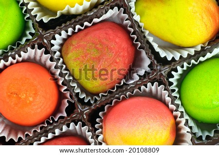gift box of assorted marzipan in the form of fruits - closeup details
