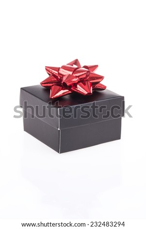 gift box on whitewash reflection