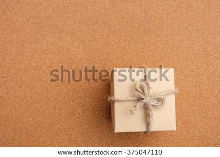 gift box on wood - stock photo