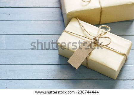 gift box on wood table - stock photo
