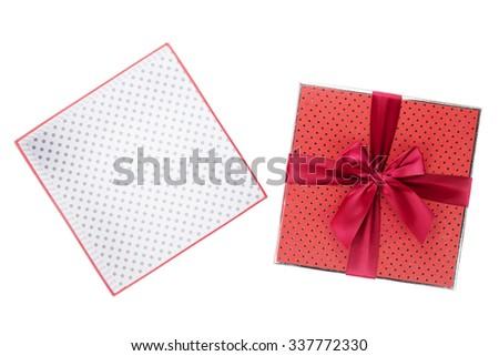 Gift box open. Isolated on white background - stock photo