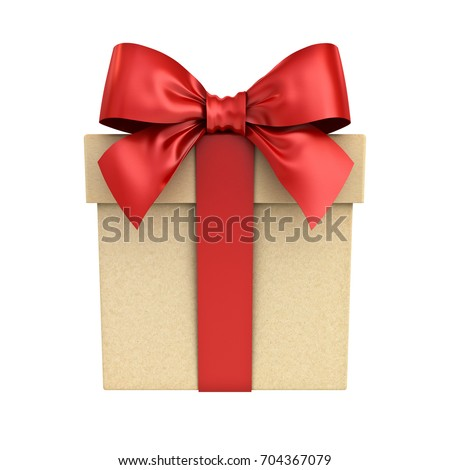 Gift box present box red ribbon stock illustration 704367079 gift box or present box with red ribbon bow isolated on white background 3d rendering negle Choice Image
