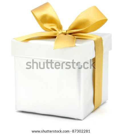 gift box over white - stock photo