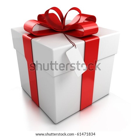 gift box over white background 3d illustration - stock photo