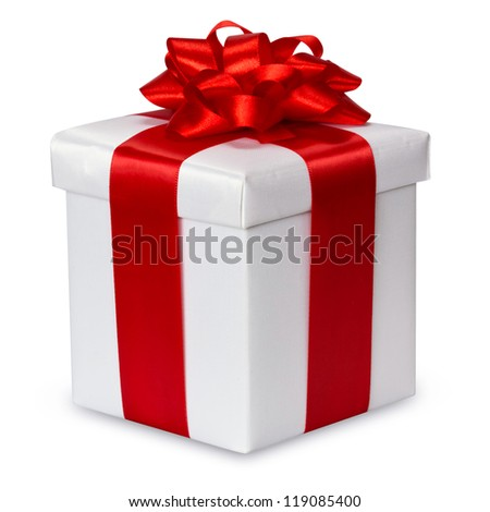 gift box over white background with clipping path - stock photo