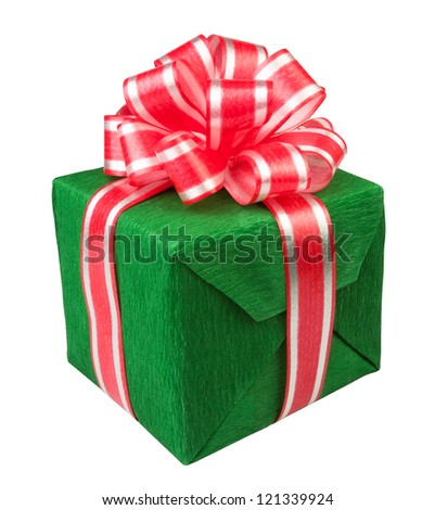 gift box present green on white background - stock photo