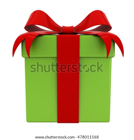 Gift box present with red ribbon bow on green box for christmas isolated over white background. 3D rendering.
