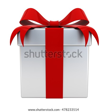 Gift box present with red ribbon bow on silver box isolated on white background. 3D rendering.