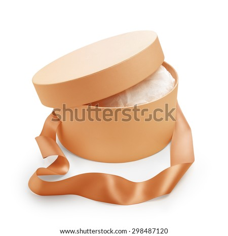 Gift box round shape with open cap and long handle tape in salmon color. Clipping path - stock photo