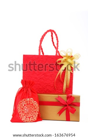 Gift box set and Red bag for Chinese New Year on white background